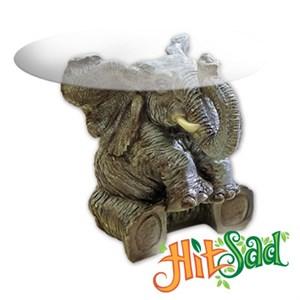 Круглый стеклянный стол слон