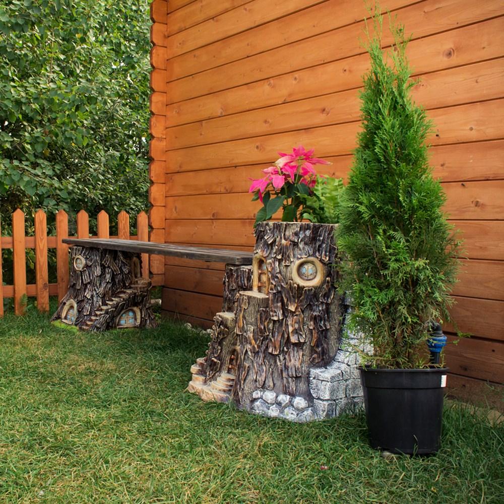 Лавка с кашпо Дом Гномов - фото 17360