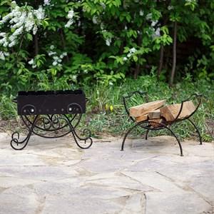 Мангал с дровницей для сада